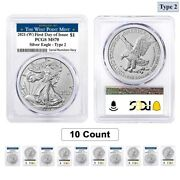 Lot Of 10- 2021 W 1 Oz Silver American Eagle Type 2 Pcgs Ms 70 Fdoi West Point