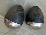 1936 Ford Headlights - Pair Original And Complete Bucket Lens And Mounting