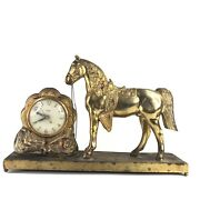 Mid Century United Metal Goods Horse Clock 40's Model No. 313 Ac Current Only