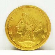 1862-s 2.50 Liberty Quarter Eagle Two Dollar Fifty Cent Gold Coin Usa 2-1/2