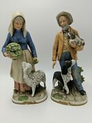Homco Old Man And Woman Figurines With Dogs And Sheep 8811 - Pre-owned