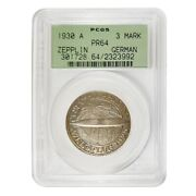 1930 A Germany Weimar Republic Graf Zeppelin 3 Mark Proof Silver Coin Pcgs Pf 64