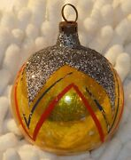 Christmas Ornament Vintage Mercury Glass Gold Decorated 1 3/4