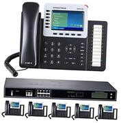 Business Phone System 8-line Ultimate Pack With Auto Attendant, 6 Phone Bundle