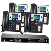 8-line Business Phone System Enhanced Pack With Auto Attendant, 4 Phone Bundle