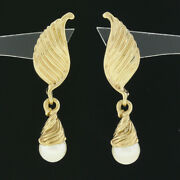 14k Yellow Gold Grooved Textured Wing Feather White Pearl Drop Dangle Earrings