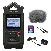 Zoom H4n Pro All Black W/ Ac Adapter, Windbuster, 16gb Memory Card And Usb Cable