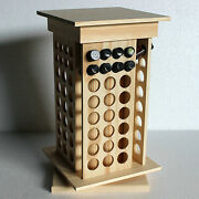 Essential Oil Rotating Wooden Box Round Rotating Display Rack 104-holes 8 Tier
