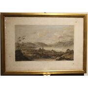 Antique 18th Swiss Original Cully Engraving Paper Painting Signed Perignon