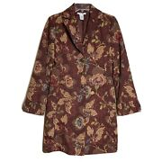 Cabi Size 4 Jacobean Floral Brocade Tapestry Embroidered Burgundy Duster Trench