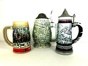 Antique Beer Stein - Lot Of 3 - Free Shipping