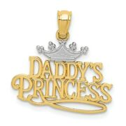 14k Yellow Gold And White Rhodium Daddy's Princess Script Pendant, 20mm