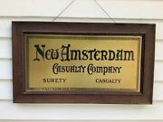 Vintage Brass Advertising Sign New Amsterdam Casualty Co. Oak Frame