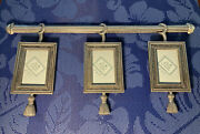 The Bombay Company Triple Hanging Photo Frames 2andrdquo X 3andrdquo Metal Brushed Silver New