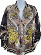 Zara Beautiful Satin Tiger Embroidered Reversible Bomber Jacket Limited Edition