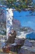 17. Painting Oil On Canvasmonk Reading On An Amalfi Westchiloff Russian