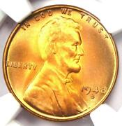 1948-s Lincoln Wheat Cent Penny 1c - Ngc Ms67+ Rd Plus Grade - 1,380 Value