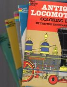 Lot Of 5 - Dover Coloring Books Antique Airplanes Locomotives Automobiles +