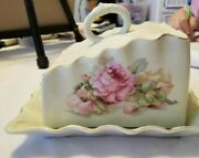 Gorgeous Antique Cheese Dish, Pink Roses, Gold Edging, Perfect Condition