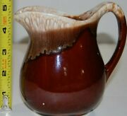 Drip Glaze Pitcher Art Pottery Jug Made In Usa 3 Shades Of Brown 4.75 Euc