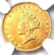 1855 Type 2 Indian Gold Dollar G1 Coin - Certified Ngc Au Details - Rare