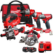 Milwaukee 18v Cordless 6 Piece Tool Kit With 2 X 5.0ah Batteries Charger And Bag