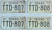 1973 Texas License Plate Pairs Two New Old Stock Sets With Sequential Numbers