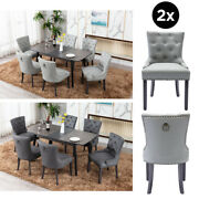 Faux Leather 2x New Dining Chair Kitchen High Back Tufted Button Chairs Seat