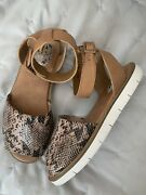 Clarks Artisan Womenand039s Tan Ankle Wrap Sandals Size 7.5 Snake Print White Sole