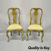 Antique English Queen Anne Adams Green Handpainted Dining Side Chairs - A Pair