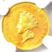 1855-o Type 2 Indian Gold Dollar G1 Coin - Ngc Uncirculated Details Unc Ms