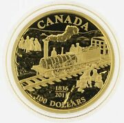 2011 100 Dollar 14kt Gold Coin 175th Anniversary Of Canada's First Rail Road