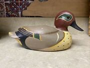 Ducks Unlimited Green Winged Teal Carved And Painted Wood Duck Decoy