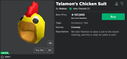 Ultra Rare Limited Roblox Virtual Hat [telamonand039s Chicken Suit] Worth 138k+