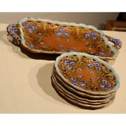 Antique 20th Germany Original Serving Dish And 6 Faience Plates Villeroy Boch