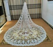 Tulle Lace Cathedral Veils One-layered Polyester Headwear Applique Edge Veil New
