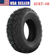 1pc Wheels 21x7-10 4ply P348 Atv Front Tires Tubeless Black Rubber Us