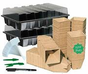 Seed Starter Kit With 120 Peat Pots For Seedlings Seed Starter Tray Plastic Grow