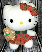 Ty Christmas Hello Kitty Plush Red And Green Dress W/ Gingerbread Man White Cat