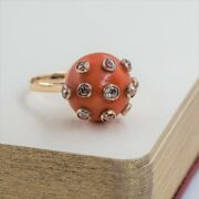 14ct Vintage Gold Orange Coral And Diamond Cocktail Ring Val 3250 Size O 53885