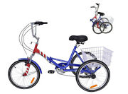 Youth Foldable Tricycle 20and039and039 Wheels Folding Tricycle 7-speed Bike With Basket Us