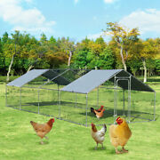 Outdoor Garden Walk In Chicken Coop Run House Shade Cage 10' X 26' W/roof Cover