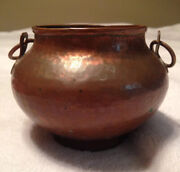 Vintage Nekrassoff Signed Hand Hammered Forged Copper Pot With Handles Rare