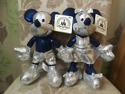 Disney Parks Mickey And Minnie Mouse 60th Diamond Anniversary Sequin Plushes Bnwts