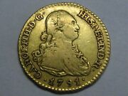 1791 Madrid 1 Escudo Charles Iv Spanish Gold Spain Coin Colonial
