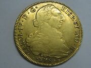 1789 Santiago 8 Escudos Chile Charles Iv Spanish Gold Spain Coin Colonial