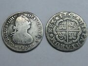 Spain 1 Real Ferdinand Vi 1759 + 1 Real Charles Iv 1802 Mexico Lot 2 Silver Coin
