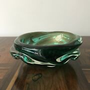 Vintage Murano Art Glass Bowl Green And Gold Unusual Shape 8.5
