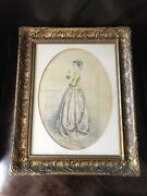 Antique 19th Century Color Lithograph Gold Gilt Wood Frame Victorian Girl Pearls