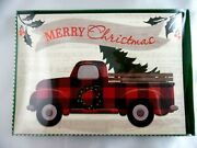 12 Christmas Cards And Envelopes New Boxed Red Truck Bringing The Tree Home